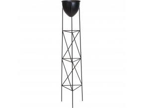 Květinový stojan, kovový, černý, 121 cm
