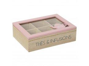 Organizátor Tea Box s 6 přihrádkami, růžová barva