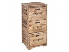 Zásuvková skříň, mobilní úložný stojan, dřevěná skříň se 3 zásuvkami