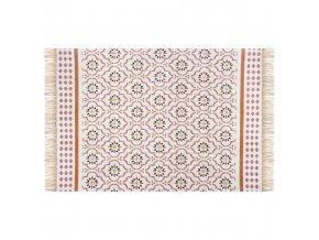 Bavlněný bílý a červený koberec s marocké mozaikou, 120 x 170 cm