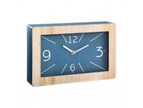 Dřevěné stolní hodiny v modré barvě, 30 x 19 cm