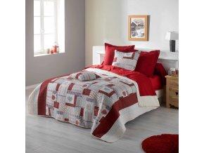 MARGAU červený potah na postel 220 x 240 cm