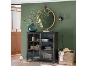 Ozdobné zrcadlo s dřevěným rámem, průměr 74 cm