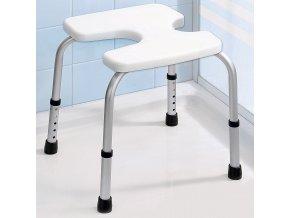 Stolek do sprchového koutu s výřezem na intimní místa, křeslo koupelnové s výškovým nastavením  SECURA, WENKO
