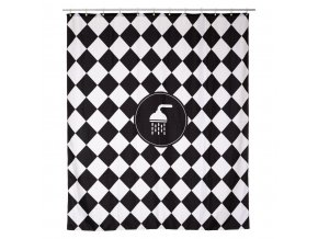 Plastický sprchový závěs s motivem šachovnice CADENCE, 180x200 cm