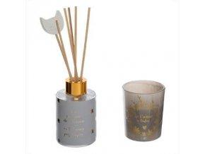 Aromatická sada AMOUR, tyčinky s olejem + svíčka, šedá