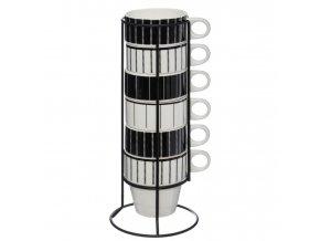 Hrnky na teplé nápoje na kovovém stojanu, 6 ks, bílá/černá