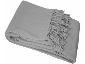 Dekorativní deka s třásněmi, LANA, 180 x 220 cm, šedá