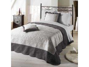 EMMA šedá potah na postel + 2 povlaky na polštáře 220 x 240 cm