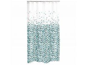 Sprchový závěs BISAZZA, 180 x 200 cm, bílá se zelenými tečkami