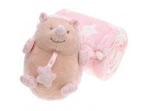 Plyšák s dekou pro dítě - 75 x 100 cm, ježek