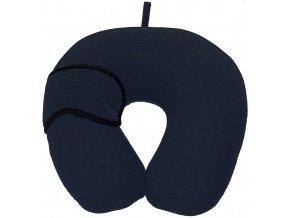 Měkký cestovní polštář pod hlavu a krk - půlměsíc s páskou na oči Emako