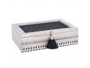 Dřevěný čajový box 240x165x70 mm s orientálním vzorem má jedinečný styl