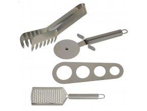 Sada pomůcek pro přípravu italských pokrmů: kleště, nůž, struhadlo,odměrka