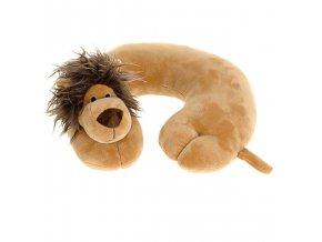 Měkký cestovní polštář pod hlavu pro dítě - půlměsíc s motivem zvířátka