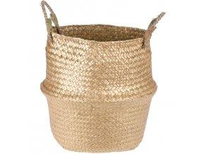 Dekorativní košík z mořské trávy, 28 x 23 cm, zlatý