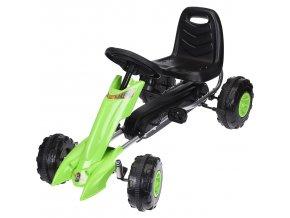 Dětská šlapací motokára, kovová, zelená