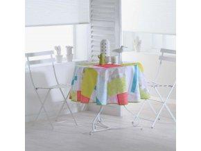 Kulatý ubrus na stůl FLORDIA,  Ø 180 cm, barva bílá s potiskem