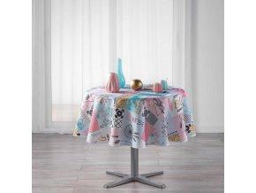 Kulatý ubrus na stůl OPTIMA,  Ø 180 cm, barva bílá s potiskem