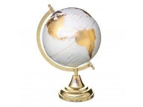 Stůl glóbus, bílá se zlatými prvky, 33 cm
