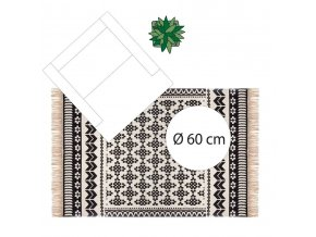 Bavlněný koberec s etnickým motivem orientální potisk, bílo-černý, 120 x 170 cm