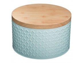 Kovová kulatá nádoba pro sypké výrobky, kovová plechovka pro drobné předměty - barva máty, průměr 20 cm