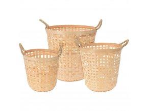 Bambusový, kulatý koš na prádlo - 3 ks
