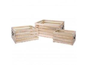 Dřevěný ukládací box MANGO, 43x30x20, 36x26x18, 30x20x16 cm