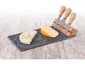 Prkénko na sýry a občerstvení + 3 nože