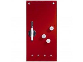 Skleněná magnetická tabule  MEMO, barva červená + 3 magnety a 4 háčky, 40x20 cm