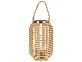 Bambusová lucerna s rukojetí, svícen dekorativní  Home Styling Collection