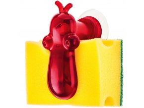 Držák na kuchyňské houbičky NORBERT - barva červená, KOZIOL