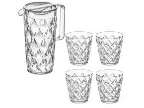 Džbánek CRYSTAL + 4 sklenice - transparentní barva, KOZIOL