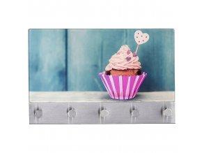 Skleněná magnetická tabule na poznámky + 5 háčků, Cupcake, WENKO
