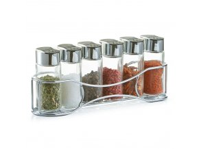 6 sklenic na koření, bylinky + kovový stojan, ZELLER