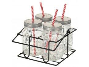 Skříňka na sklenice na nápoje 4x skelnice se slámkou, kovový stojan - sada na grilování, piknik, pláž