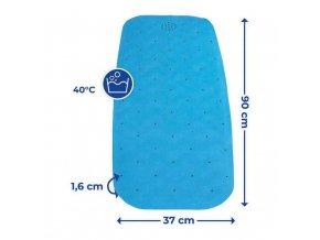 Modrá podložka pro sprchového koutu NATUAL RUBBER, 90 x 37 cm, WENKO