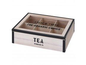 Dřevěný box na čaj, 6 přihrádek - přírodní dřevo