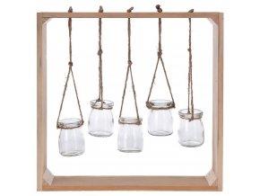 Nástěnná dekorace s dřevěnným rámem, sklenice, 5 ks