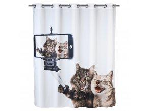 Sprchový závěs  Selfie Cat, textilní, 180x200 cm, WENKO