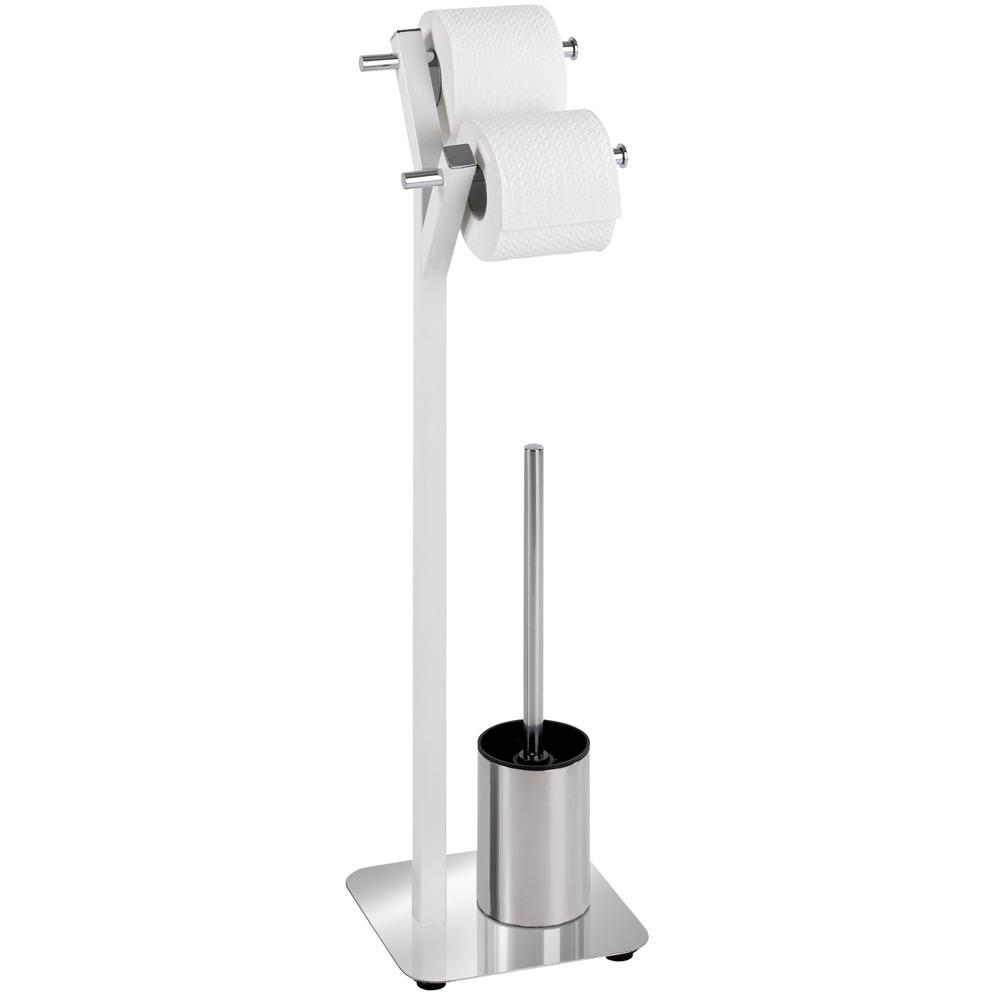 Stojan na toaletní papír a štětku WC, ALBERO WHITE - 2 v 1, WENKO