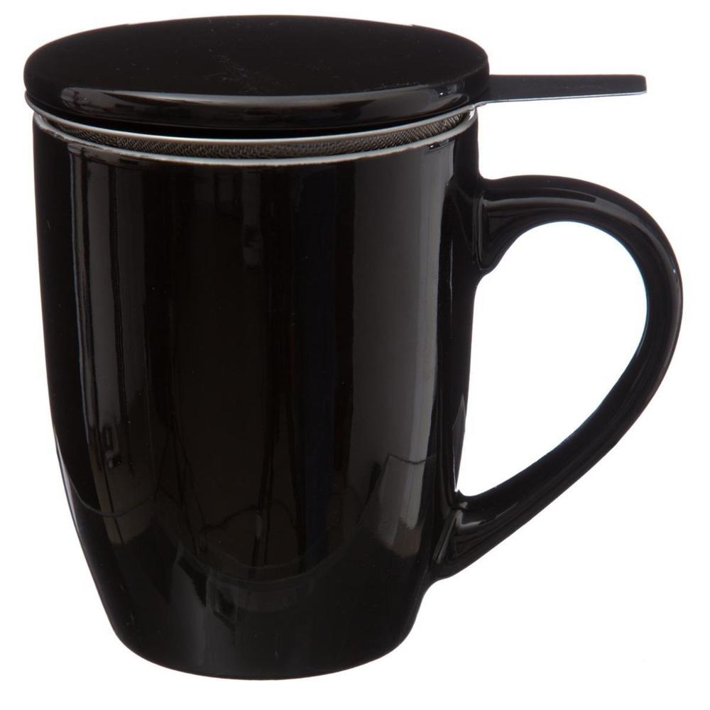 Secret de Gourmet Hrnek na čaj, konvice na čaj, čajová konvice, skleněný džbán, džbán na čaj 320 ml, černá barva