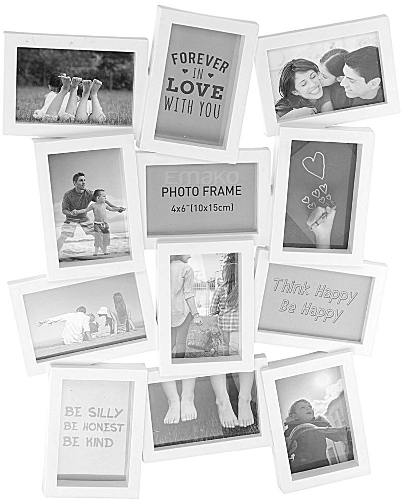 Emako Fotorámeček pro 12 obrázků, bílá barva, 60x48 cm