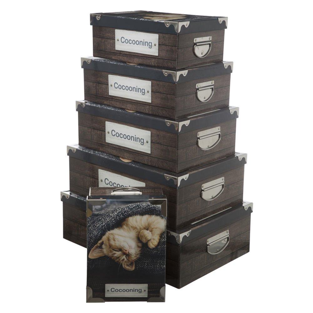 Emako Úložné boxy, sada tmavě hnědých krabic s úchyty a ozdobami – 6 velikosti