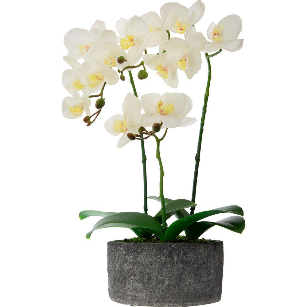 Atmosphera Umělá květina, tři orchideje s bílými květy v šedém cementovém květináči
