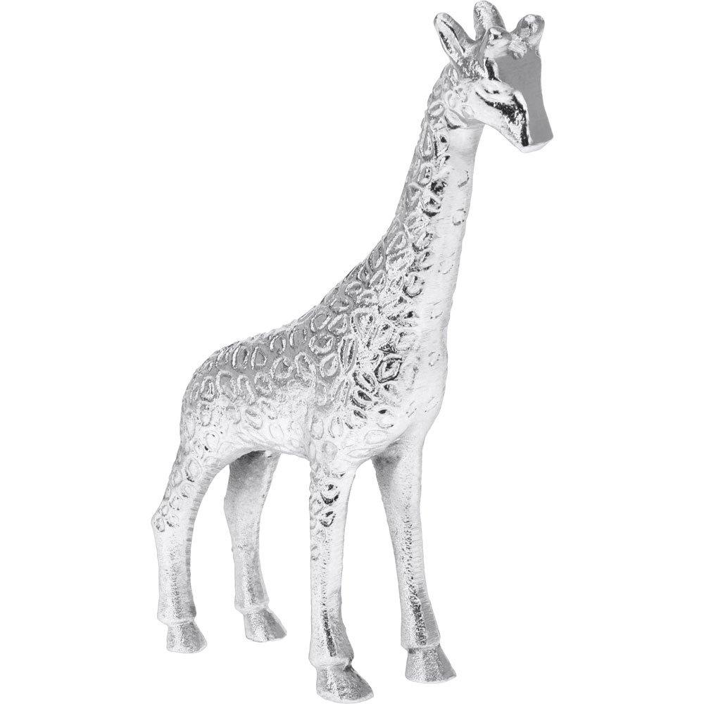 Emako Dekorační soška do bytu, pěkná stříbrná žirafa z hliníku