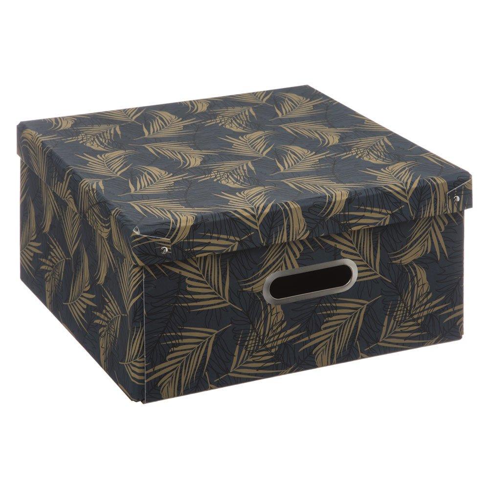 5five Simple Smart Kartonová krabice s víkem, úložný box, 31 x 31 cm, černá s motivem dlaně