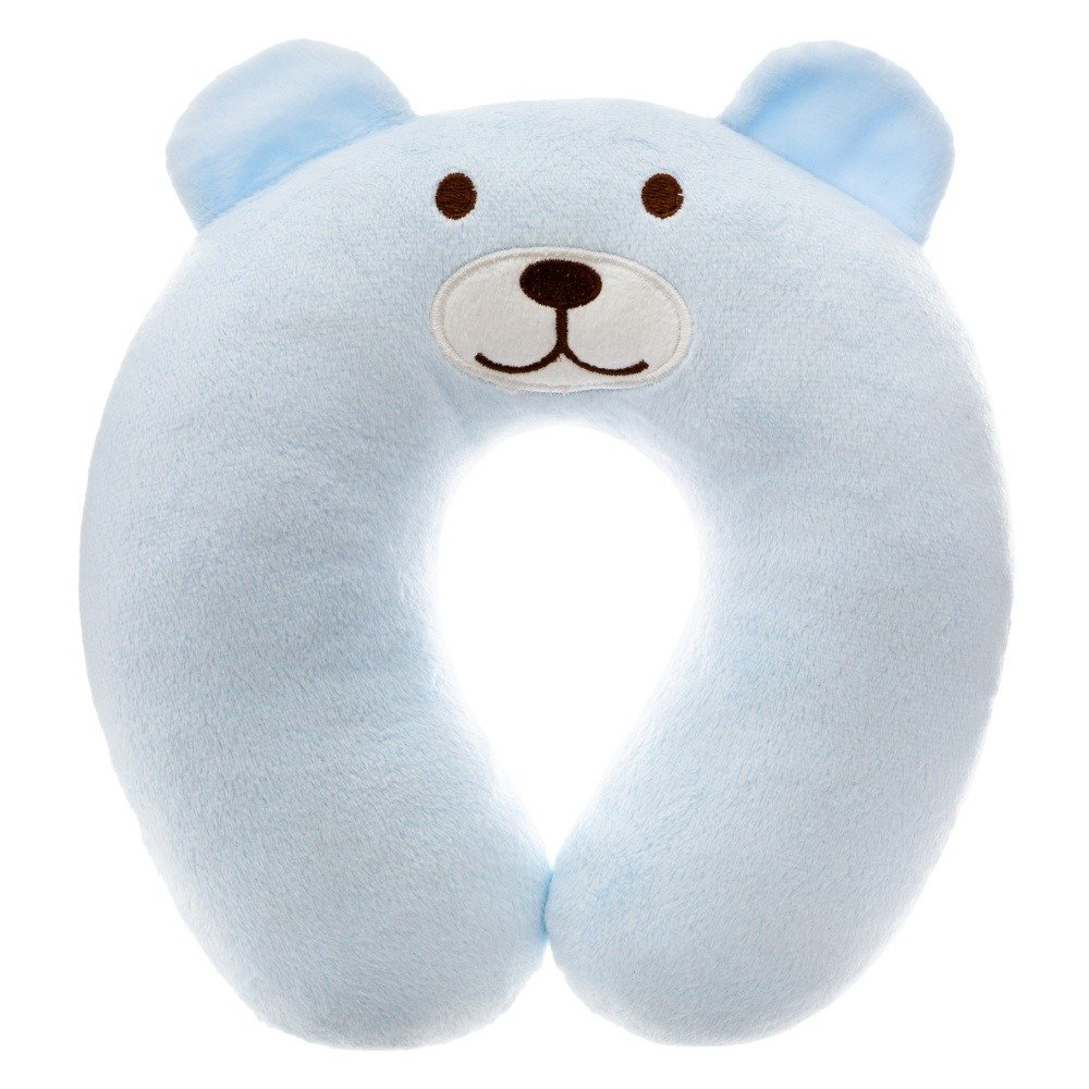 Atmosphera for kids Dětský cestovní modrý polštář s motivem medvěda, 22x6 cm