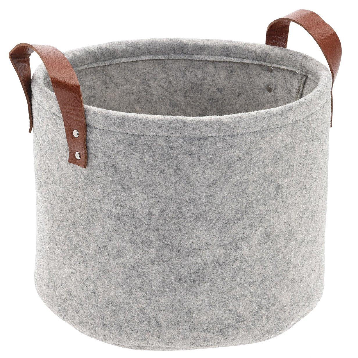 Home Styling Collection Plstěný koš, kulatý, šedá barva