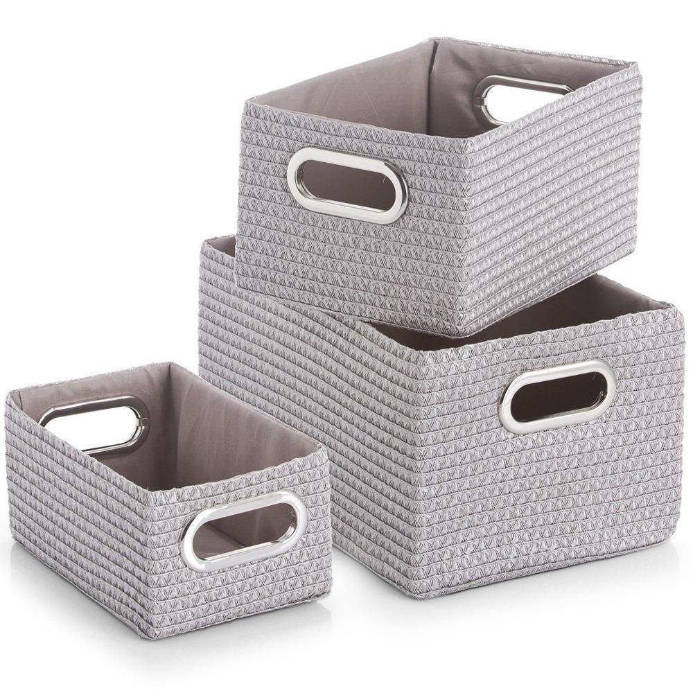 Koše pro skladování, organizér, 3 ks, šedá barva, ZELLER